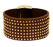 Bronze Studded 7-Strand Leather Bracelet by Bronzo Italia - J289098
