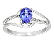 0.60 ct Oval Tanzanite and Diamond Accent Ring, 14K Gold - J291498