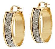 14K Gold Pave Glitter Round Hoop Earrings - J295298