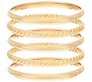 Bronzo Italia Small Set of 5 Polished & Rope Textured Round Bangles - J295798
