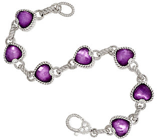 Product image of Judith Ripka Sterling Raspberry Doublet Heart Bracelet 7-1/4""