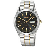 Seiko Mens Solar Two-Tone Watch with  Black Dial - J297398