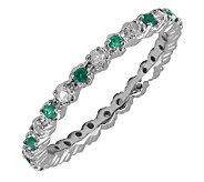 Simply Stacks Sterling Created Emerald & Diamond Stack Ring - J298698