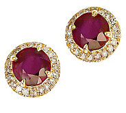 2.10ct tw Ruby & 1/5 ct tw Diamond Halo Stud Earrings, 14K - J311498