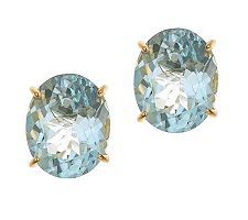 14K Yellow Gold Oval Aquamarine Stud Earrings