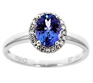 Oval Tanzanite & 1/10 ct tw Diamond Halo Ring,14K Gold - J314798