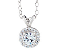 Round Halo Diamond Pendant, 14K Gold, 1/2 cttw, by Affinity - J316898