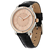 Vicence Roman Numeral Round Case Leather Strap Watch, 14K - J317198