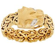 14K Gold Panther Head Byzantine Ring - J318498