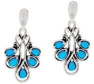 Carolyn Pollack Sleeping Beauty Turquoise Ster. Drop Earrings