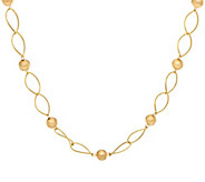 14K Gold 24 Marquise Link & Round Beaded Station Necklace, 4.1g - J322198