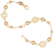 EternaGold 7 Open Work Bead Bracelet 14K Gold, 2.2g - J322998