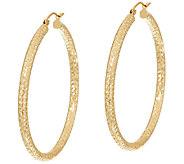 14K Gold 1-7/8 Diamond Cut Tube Hoop Earrings - J324798