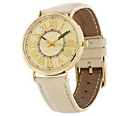 As Is Vicence Round Case Leather Strap Watch, 14K - J327198