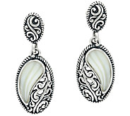 Carolyn Pollack Sterling Silver Carved Mother-of-Pearl Oval Earings - J327398
