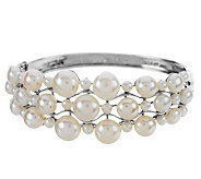As Is Honora Cultured Pearl Large Fancy Sterling Bangle - J328198