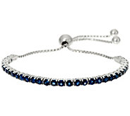 Precious Gemstone Sterling Silver Adjustable Tennis Bracelet - J329898