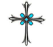 Sterling Silver Sleeping Beauty Turquoise Cross Enhancer by American West - J330498