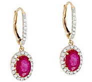 Ruby, Emerald or Sapphire & Diamond Drop Earrings, 14K, 1.20 cttw - J331198