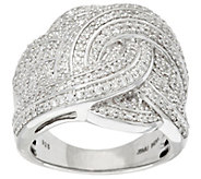 As Is Woven Design White Diamond Sterl. Ring 1.00 cttw by Affinity - J332498