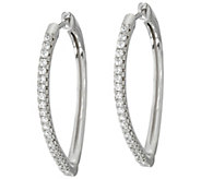 Diamonique 1-1/8 Pear Shaped Hoop Earrings, Sterling - J335098