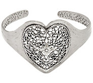 Sterling Silver Lace Design Heart Cuff by Or Paz 21.0g - J335598