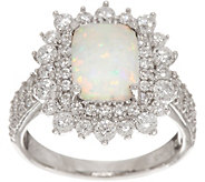 Diamonique and Synthetic Opal Ring, Sterling - J347098