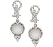 Judith Ripka Sterling Silver Mother of Pearl & Diamonique Drop Earrings - J347898