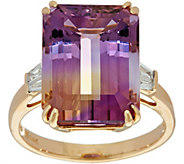 Emerald Cut Ametrine and Baguette Diamond Ring 14K - J350098