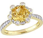 14K 1.95 cttw Citrine, White Sapphire & 1/2 cttw Diamond Ring - J377098