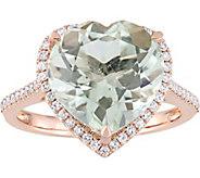 14K 4.60 ct Green Amethyst & 1/4 cttw Diamond Heart Halo Ring - J377798