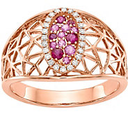 14K Rose Gold Diamond, Ruby & Sapphire Oval Ring - J378298