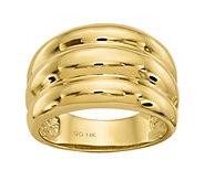 14K Gold Ribbed Dome Ring - J382098