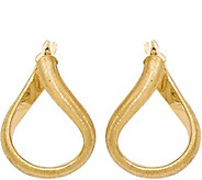 Italian Gold 1 Satin Oval Hoop Earrings 14K, 2.4g - J382198