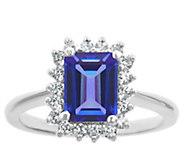 14K Gold 1.40 cttw Emerald-Cut Tanzanite Halo Ring - J382598