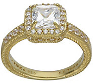 Judith Ripka 14K-Clad 1.90-Carat Cushion-Cut Diamonique Ring - J383598