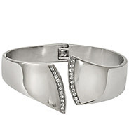 Stainless Steel Crystal Hinged Cuff - J383798