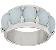Milky Aquamarine 5-Stone Design Sterling Silver Band Ring - J274199
