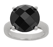 9.00 ct Black Spinel Checkerboard Faceted Sterling Ring - J287399