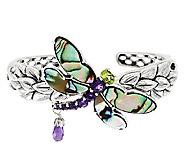 Carolyn Pollack Sterling Silver Abalone Doublet & Gemstone Dragonfly Cuff - J291999