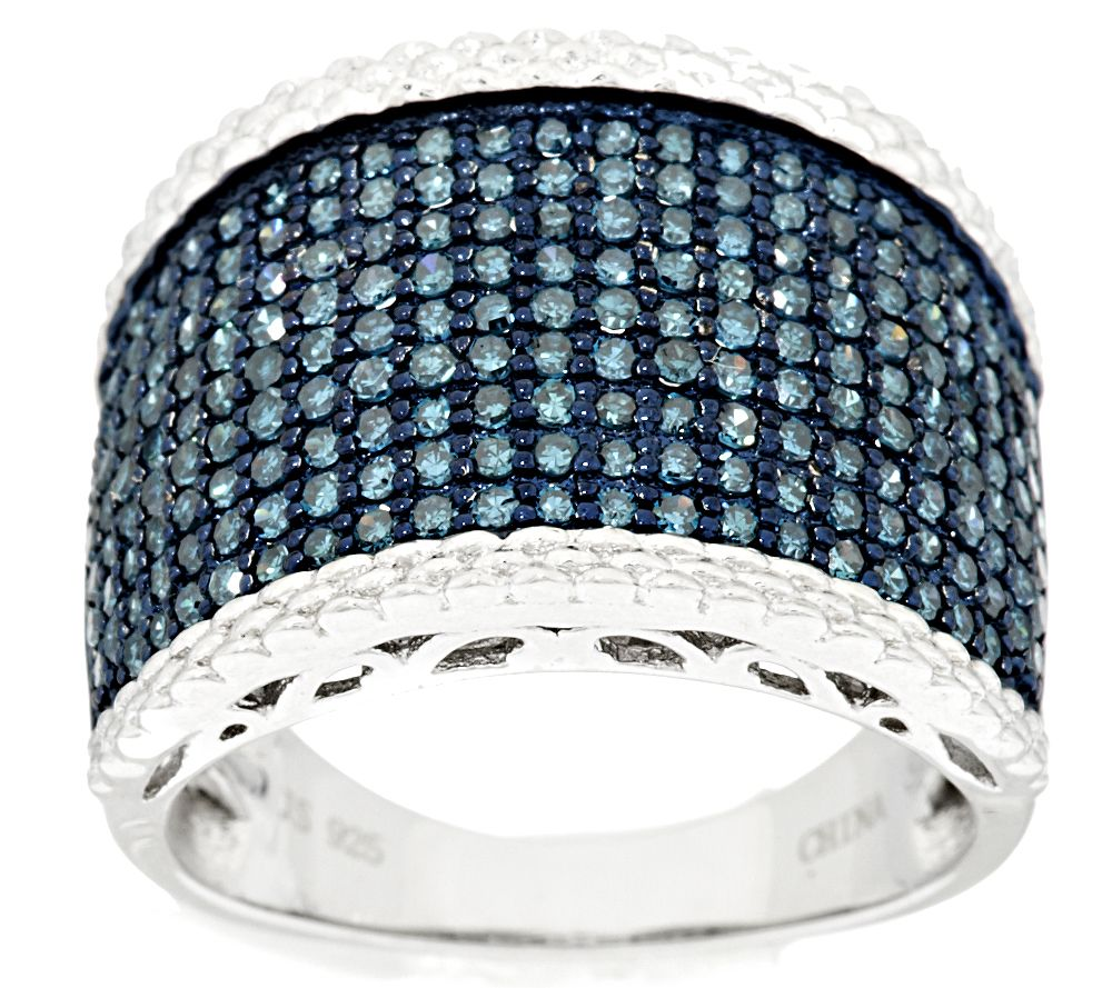 Pave' Blue with Trim Diamond Ring, Sterling 1.00 cttw, by Affinity - J293699