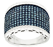 Pave Blue with Trim Diamond Ring, Sterling 1.00 cttw, by Affinity - J293699