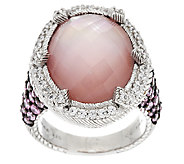 Judith Ripka Sterling Silver Rose Quartz Doublet Ring - J293899