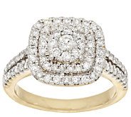 Cluster Design Double Halo Diamond Ring, 14K, 1.0 cttw by Affinity - J295299