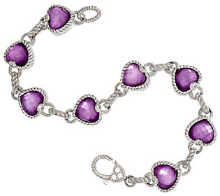 Product image of Judith Ripka Sterling Raspberry Doublet Heart Bracelet 8""