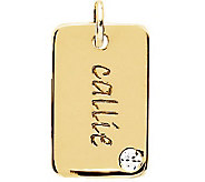 Posh Mommy 18K Gold-Plated Mini Dog Tag Sim Birthstone Pendant - J300099