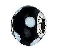 Prerogatives Black with White Dots Italian Murano Glass Bead - J300199