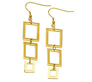 Stainless Steel Rectangle Dangle Goldtone Earrings - J306699