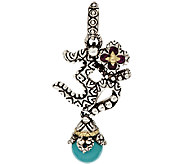 Barbara Bixby Sterling & 18K Turquoise and Garnet Om Charm - J317799