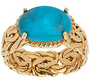 As Is 14K Gold Bold Byzantine & Turquoise Ring - J317899